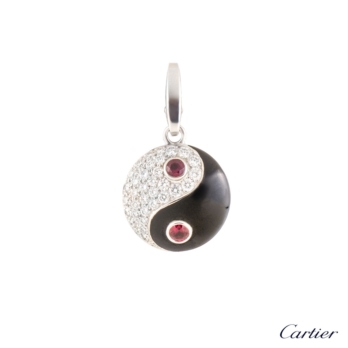 Cartier White Gold Diamond, Ruby and Enamel Yin Yang Charm N3015600